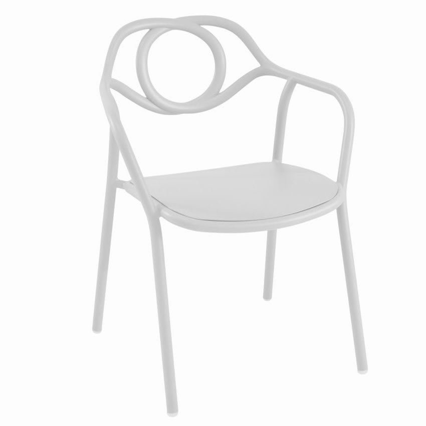 "emu 653 32"" Zoe Stacking Arm Chair w/ Tubular Back - Steel, Antique White"