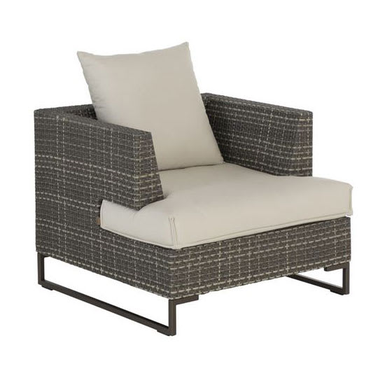 "emu 6540 34"" Luxor Lounge Arm Chair w/ Wicker Back & Seat - Aluminum/Steel Frame, Antique Bronze"
