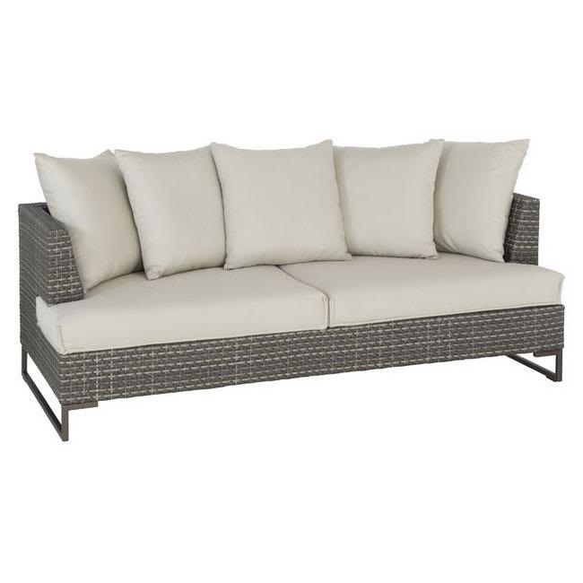 "emu 6541 77"" Luxor Lounge Sofa w/ Wicker Back & Seat - Aluminum/Steel Frame, Antique Bronze"