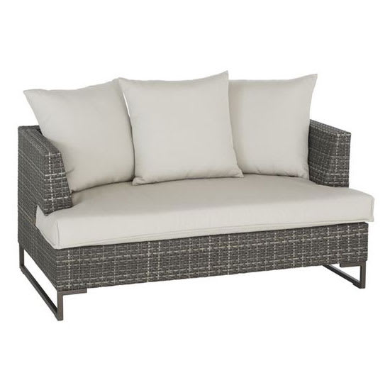 "emu 6542 55.5"" Luxor Lounge Loveseat w/ Wicker Back & Seat - Aluminum/Steel Frame, Antique Bronze"