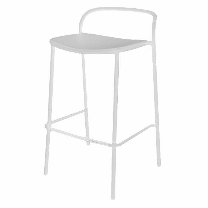 """emu 654 36"""" Zoe Stacking Barstool w/ Tubular Back - Steel, Antique White"""