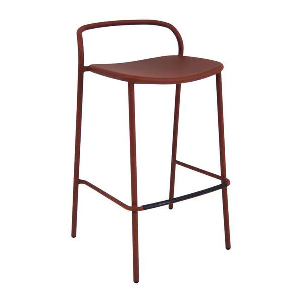 "emu 654 36"" Zoe Stacking Barstool w/ Tubular Back - Steel, Antique Corten"
