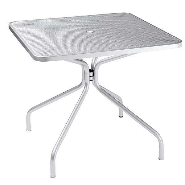 "emu 801 ALU Cambi Table, 32"" Square, Umbrella Hole, Mesh Top, Aluminum"