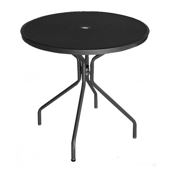 "emu 803 BLACK Cambi Table, 32""Diameter, Umbrella Hole, Mesh Top, Black"