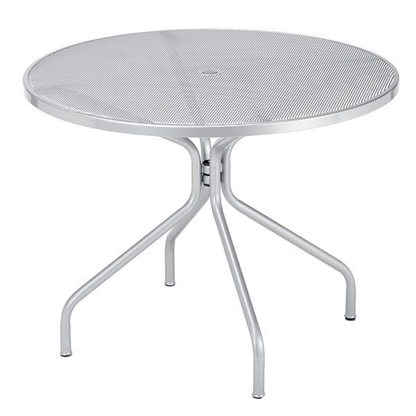 "emu 804 ALU Cambi Table, 42"" Diameter, Umbrella Hole, Mesh Top, Aluminum"