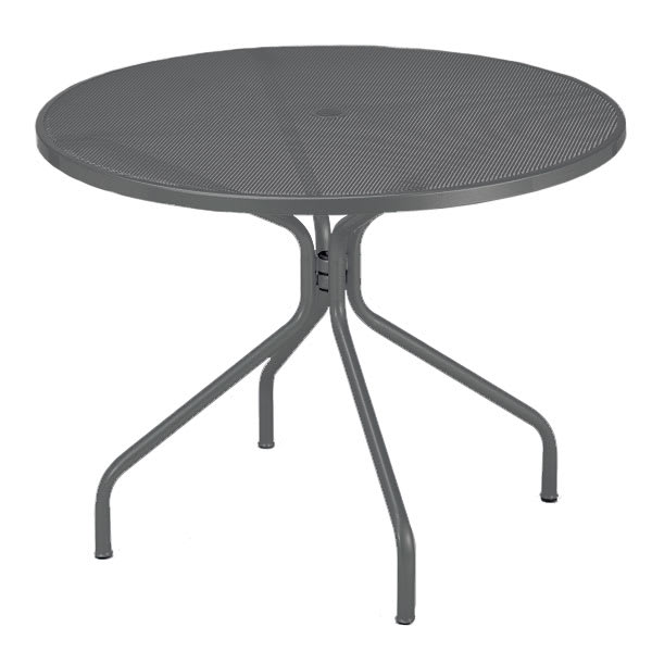 "emu 805 AIRON Cambi Table, 48""Diameter, Umbrella Hole, Mesh Top, Iron"