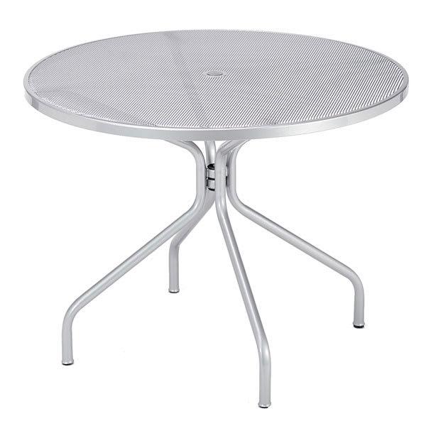 "emu 813 ALU Cambi Table, 36"" Diameter, Umbrella Hole, Mesh, Aluminum"