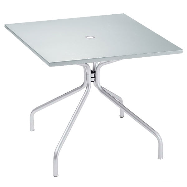 "emu 824 ALU Solid Table, 36"" Square, Umbrella Hole, Solid Top, Aluminum"