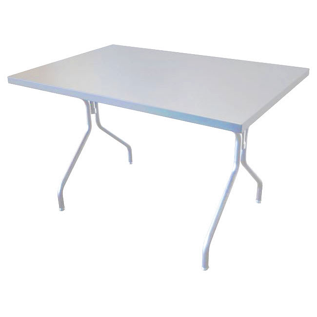 "emu 837 Solid Table w/ 48"" x 32"" Rectangular Top - Steel, Glossy Aluminum"