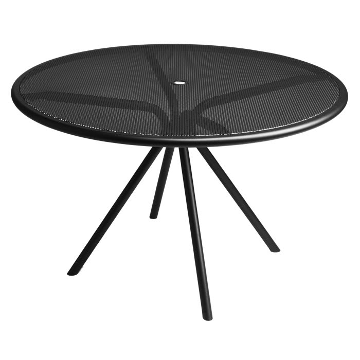 "emu 864 42"" Forte Round Table - Indoor/Outdoor, Mesh Top, Steel Frame, Black"