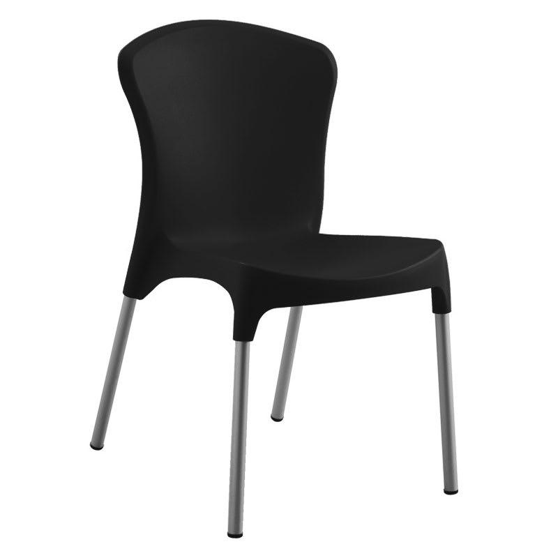 emu 9004 Nido Side Chair, Black Poly Shell, Aluminum