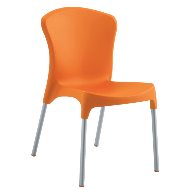emu 9004 ORANGE Nido Side Chair, Orange Poly Shell, Aluminum