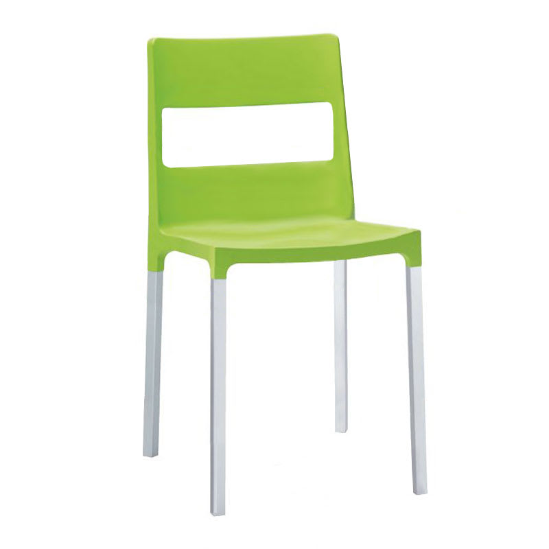 "emu 9008 33"" Olly Stacking Side Chair - Aluminum/Polypropylene, Matte Green"