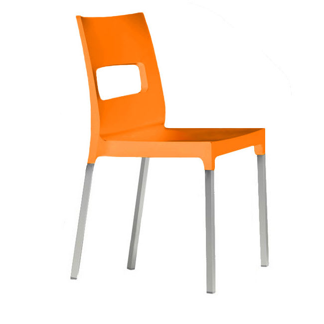 "emu 9008 33"" Olly Stacking Side Chair - Aluminum/Polypropylene, Matte Orange"