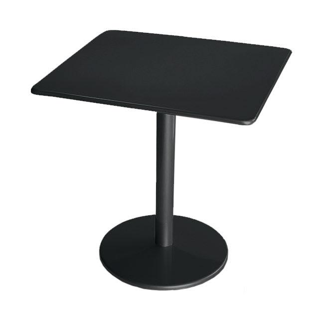 """emu 901 BLACK Bistro Table, 30"""" Square, Solid Pedestal, Black"""