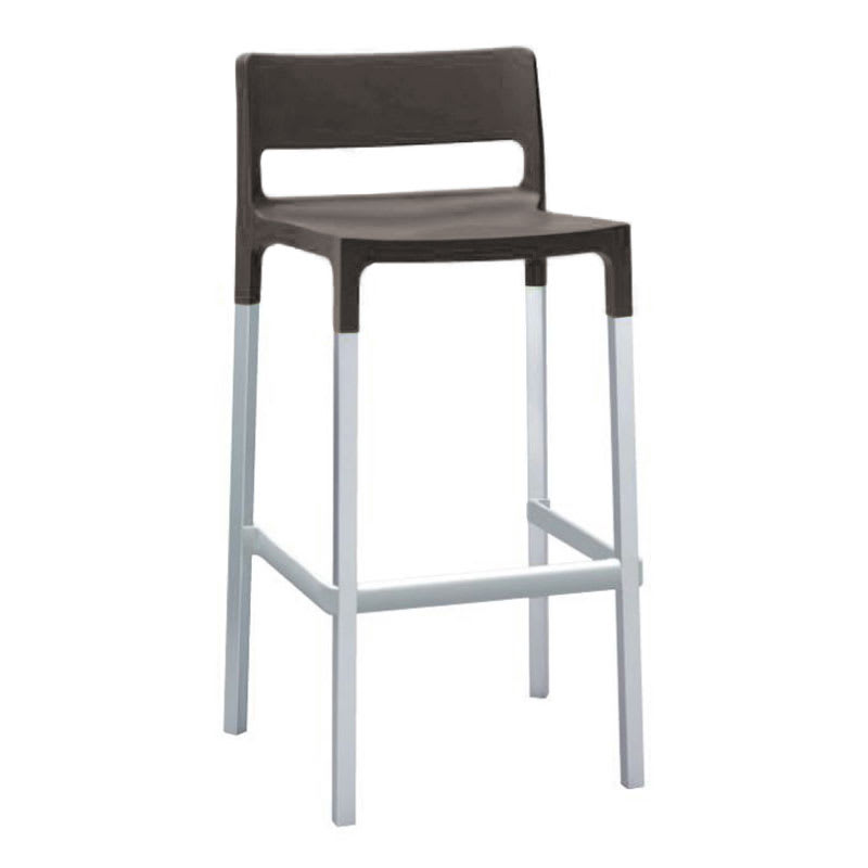 emu 9208 Olly Stacking Bar Stool - Indoor/Outdoor, Aluminum/Poly Frame, Anthracite