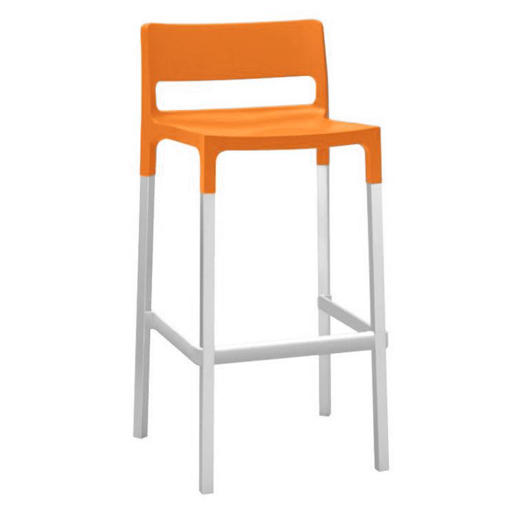 emu 9208 Olly Stacking Bar Stool - Indoor/Outdoor, Aluminum/Poly Frame, Orange