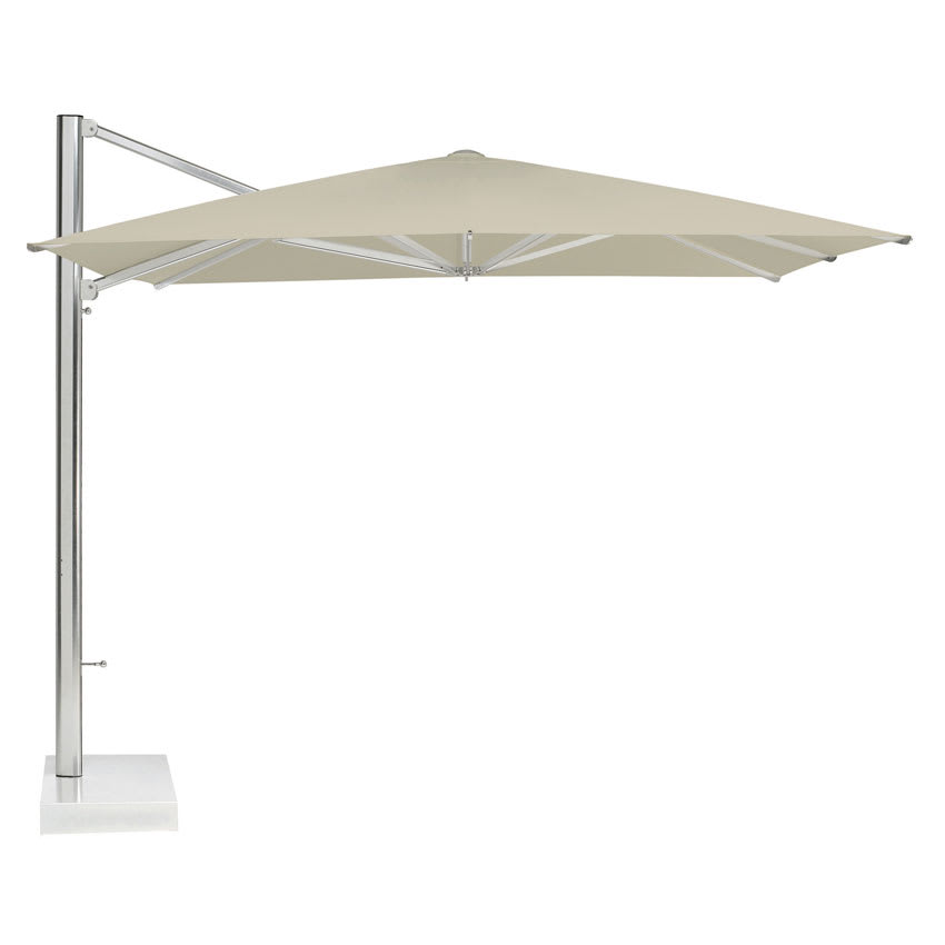 emu 981-20 10' Shade Cantilever Square Umbrella with Base- Aluminum, Khaki/Granite