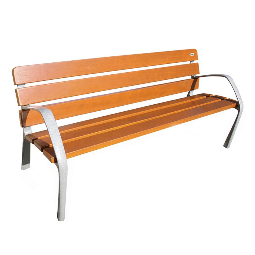 """emu U304 72"""" Neobarcino Bench - Outdoor, Natural Wood/Steel, Gray"""
