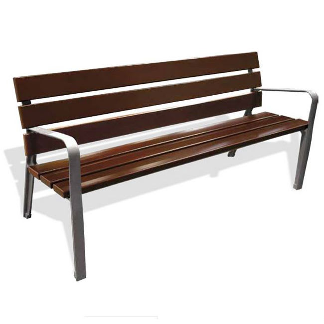 "emu U368 71"" Ergo Bench w/ Mahogany Slat Back & Seat - Cast Iron Frame w/ Gray Finish"