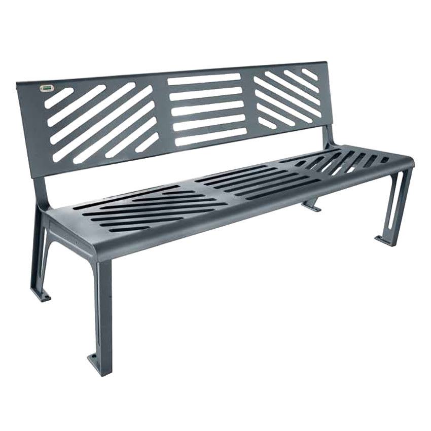 "emu U397M 65.5"" Outdoor Essen Bench w/ Solid Seat & Back, Cast Iron Frame, Steel Grey"