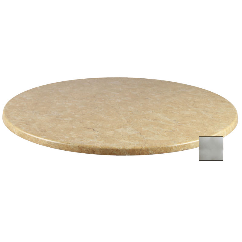 """emu W0028 28"""" Joe Round Table Top - Indoor/Outdoor, Molded Laminate, Brushed Silver"""