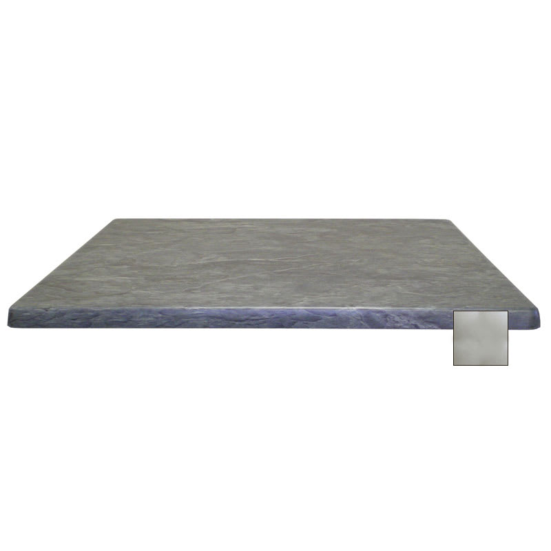"""emu W2424 24"""" Joe Square Table Top - Indoor/Outdoor, Molded Laminate, Brushed Silver"""