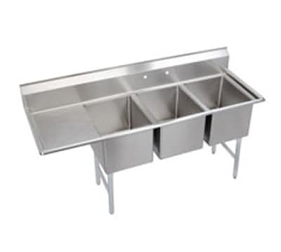 "Elkay 14-3C18X24-L-24X 84.5"" 3-Compartment Sink w/ 18""L x 24""W Bowl, 14"" Deep"