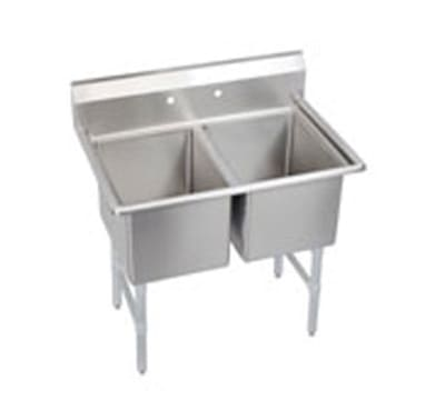 "Elkay 2C18X24-0X 43"" 2 Compartment Sink w/ 18""L x 24""W Bowl, 12"" Deep"