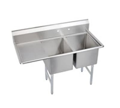 """Elkay 2C18X24-L-18X 58.5"""" 2 Compartment Sink w/ 18""""L x 24""""W Bowl, 12"""" Deep"""