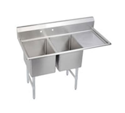 "Elkay 2C24X24-R-24X 76.5"" 2-Compartment Sink w/ 24""L x 24""W Bowl, 12"" Deep"
