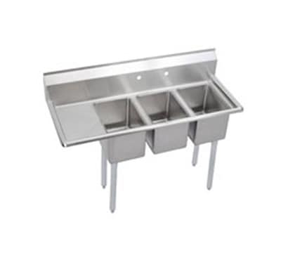 "Elkay 3C10X14-L-12X 48.5"" 3 Compartment Sink w/ 10""L x 14""W Bowl, 10"" Deep"