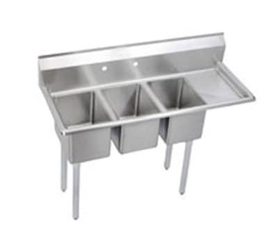 """Elkay 3C10X14-R-12X 48.5"""" 3-Compartment Sink w/ 10""""L x 14""""W Bowl, 10"""" Deep"""