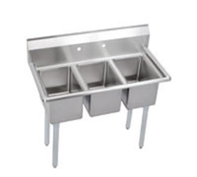 "Elkay 3C12X16-0X 45"" 3-Compartment Sink w/ 12""L x 16""W Bowl, 10"" Deep"