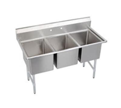 """Elkay 3C18X24-0X 63"""" 3-Compartment Sink w/ 18""""L x 24""""W Bowl, 12"""" Deep"""