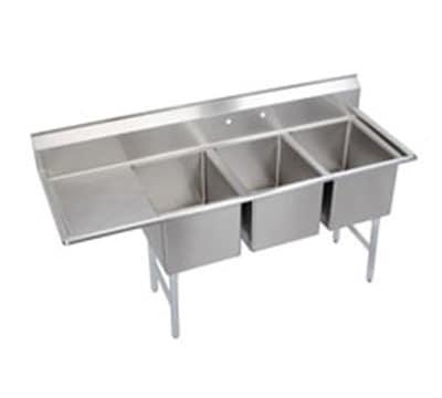 """Elkay 3C18X24-L-24X 84.5"""" 3 Compartment Sink w/ 18""""L x 24""""W Bowl, 12"""" Deep"""