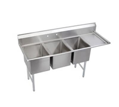 "Elkay 3C18X24-R-24X 84.5"" 3-Compartment Sink w/ 18""L x 24""W Bowl, 12"" Deep"