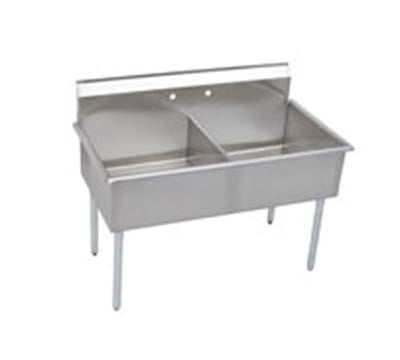"""Elkay B2C24X24X 51"""" 2 Compartment Sink w/ 24""""L x 24""""W Bowl, 12"""" Deep"""