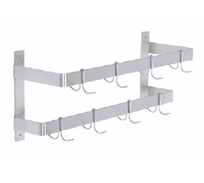 "Elkay DLW-72X 72"" Wall-Mount Pot Rack w/ (12) Double Hooks, Stainless Steel"