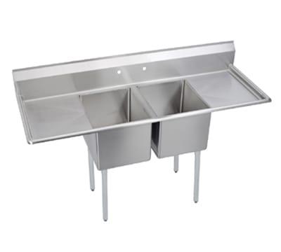 """Elkay E2C16X20-2-18X 70"""" 2-Compartment Sink w/ 16""""L x 20""""W Bowl, 12"""" Deep"""