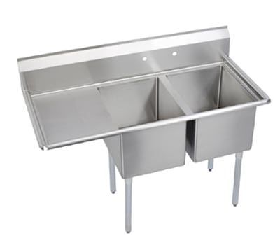 "Elkay E2C20X20-L-20X 64.5"" 2-Compartment Sink w/ 20""L x 20""W Bowl, 12"" Deep"
