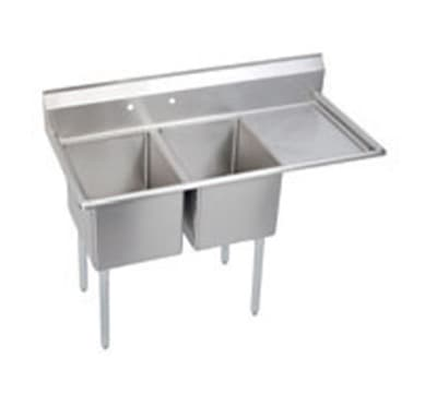 "Elkay E2C20X20-R-20X 64.5"" 2-Compartment Sink w/ 20""L x 20""W Bowl, 12"" Deep"
