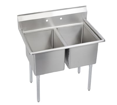 """Elkay E2C24X24-0X 55"""" 2-Compartment Sink w/ 24""""L x 24""""W Bowl, 12"""" Deep"""