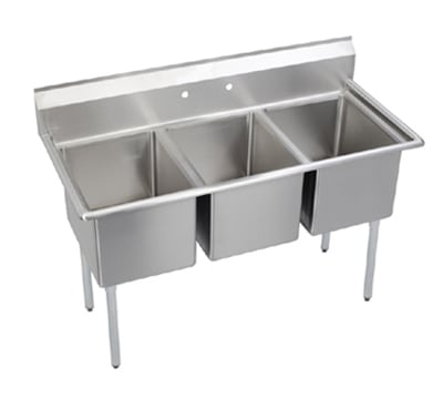 "Elkay E3C16X20-0X 57"" 3 Compartment Sink w/ 16""L x 20""W Bowl, 12"" Deep"