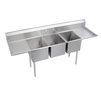 "Elkay E3C16X20-2-18X 88"" 3 Compartment Sink w/ 16""L x 20""W Bowl, 12"" Deep"