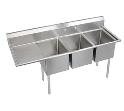 "Elkay E3C16X20-L-18X 72.5"" 3-Compartment Sink w/ 16""L x 20""W Bowl, 12"" Deep"