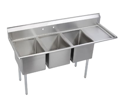 "Elkay E3C16X20-R-18X 72.5"" 3-Compartment Sink w/ 16""L x 20""W Bowl, 12"" Deep"
