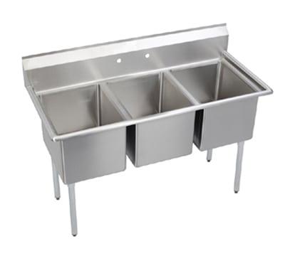 """Elkay E3C24X24-0X 81"""" 3-Compartment Sink w/ 24""""L x 24""""W Bowl, 12"""" Deep"""