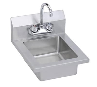 "Elkay EHS14X Wall Mount Commercial Hand Sink w/ 10""L x 12""W x 5""D Bowl, Gooseneck Faucet"