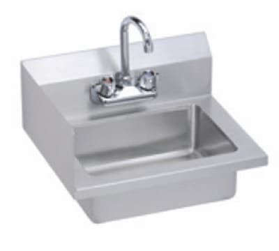 "Elkay EHS-18-S-LX Wall Mount Commercial Hand Sink w/ 14""L x 10""W x 5""D Bowl, Side Splashes"